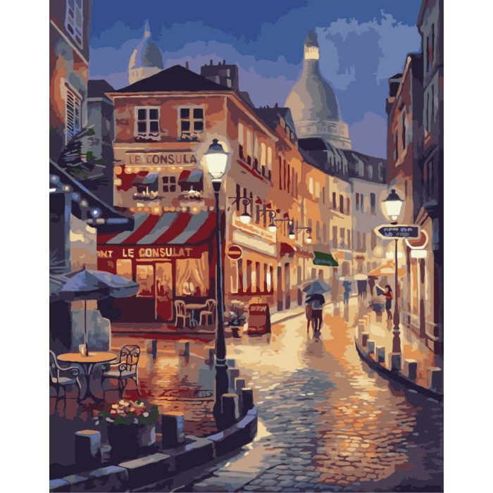 """Картина по номерам. Городской пейзаж """"Прогулки во Франции"""" 40*50см KHO2116"""