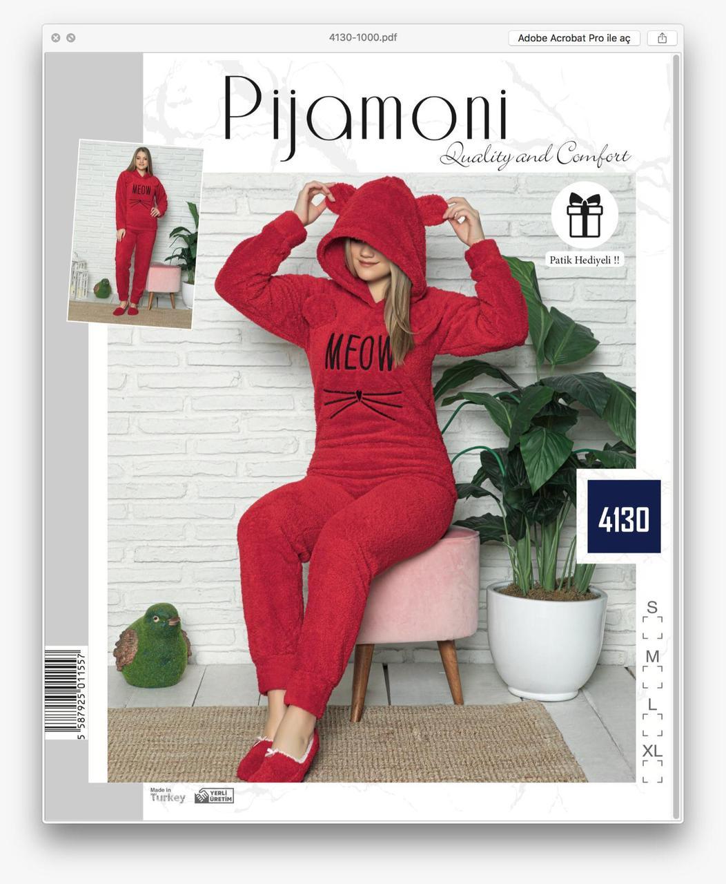Жіноча піжама флісова Pijamoni Турція з довгим рукавом і принтом Meow red