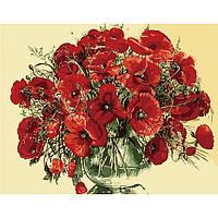 """Картина по номерам. Букеты """"Красные маки в стеклянной вазе"""" 40*50см KHO1076"""