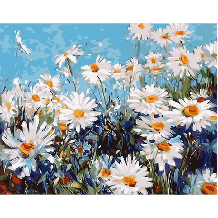 """Картина по номерам. Цветы """"Лесные ромашки"""" 40*50см KHO2918"""