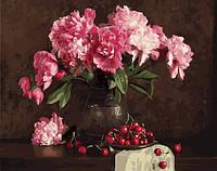 """Картина по номерам. Brushme """"Пионы и вишни"""" GX4645"""