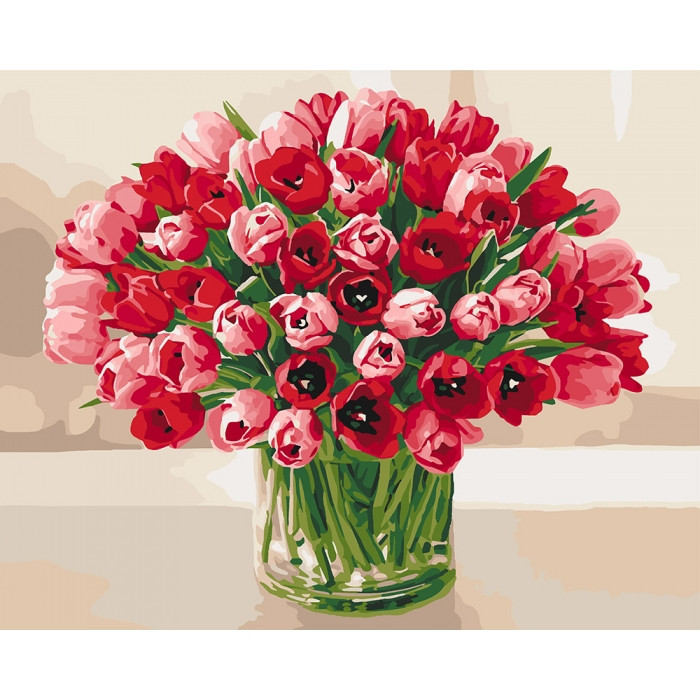 "Картина по номерам. ""Жгучие тюльпаны"" KHO3058"