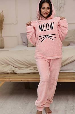 Жіноча піжама флісова Pijamoni Турція з принтом Meow peach