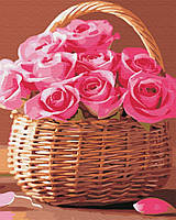 "Картина по номерам. Brushme ""Корзинка розовых роз"" GX34808"