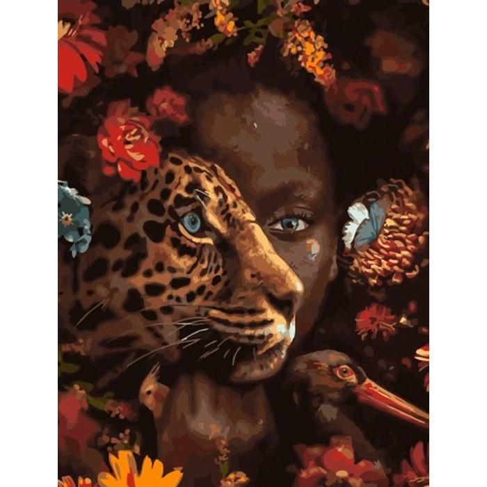 """Картина по номерам. Brushme """"Амазонка среди зверей"""" GX33399"""