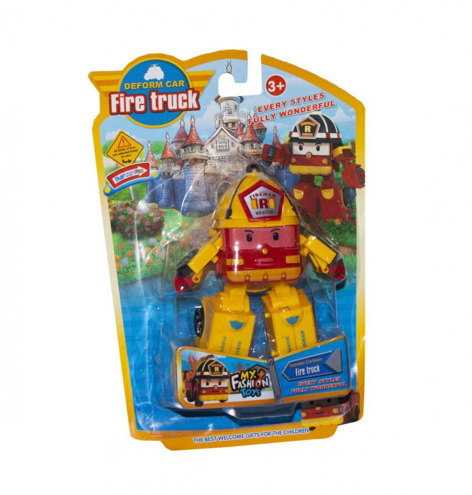 Трансформер транспорт Robocar POLI 378B (Желтый Пожарная)