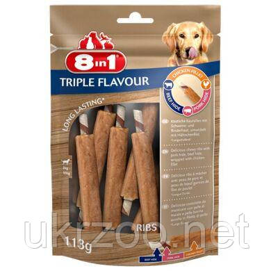 Лакомство для собак 8in1 Triple Flavour Ribs Палочка с мясом 13 см, 113 г / 6 шт. (говядина и свинина)