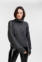 Женский укороченный свитер в стиле oversize (Темно-серый)