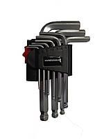 Набор ключей имбусовых шарообразных, HEX 9 ед., S2, 1,5-10мм HAISSER 48112