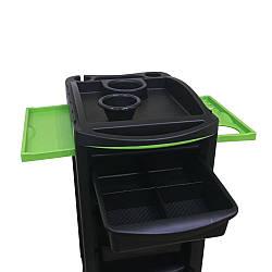 Парикмахерская тележка черная с салатовыми полочками мобильный парикмахерский тролес для салона красоты 3202