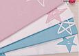 Сатин (хлопковая ткань) на розовом фоне нарисованные звезды (непрокрас 15 см от кромки каждые 40 см), фото 3
