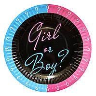 """Тарелки бумажные одноразовые """"Girl or Boy"""" Мальчик или Девочка? 10 шт"""