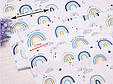 Сатин (хлопковая ткань) радуга с голубым (небольшое смещение рисунка), фото 2