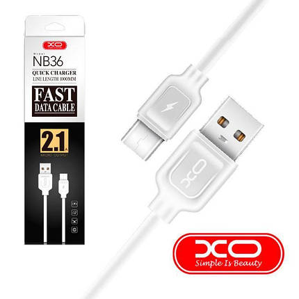 Кабель Usb-cable Type-C XO NB36 2.1A 1m (круглый) White, фото 2