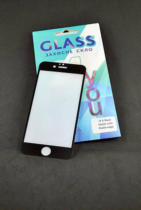 Защитное стекло iPhone 7+ / 8+ Matte with Matte edge Black 4you, фото 2
