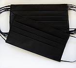 Медичні тришарові фабричні маски, чорні 50 шт, фото 2