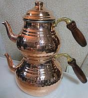 Двойной чайник турецкий медный (чайник 1,6 л / заварник 0,8 л)