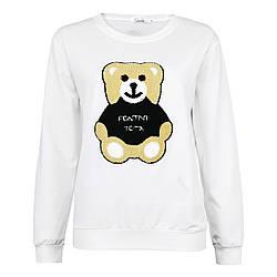 Кофта жіноча стильна біла, милий Ведмедик світшот