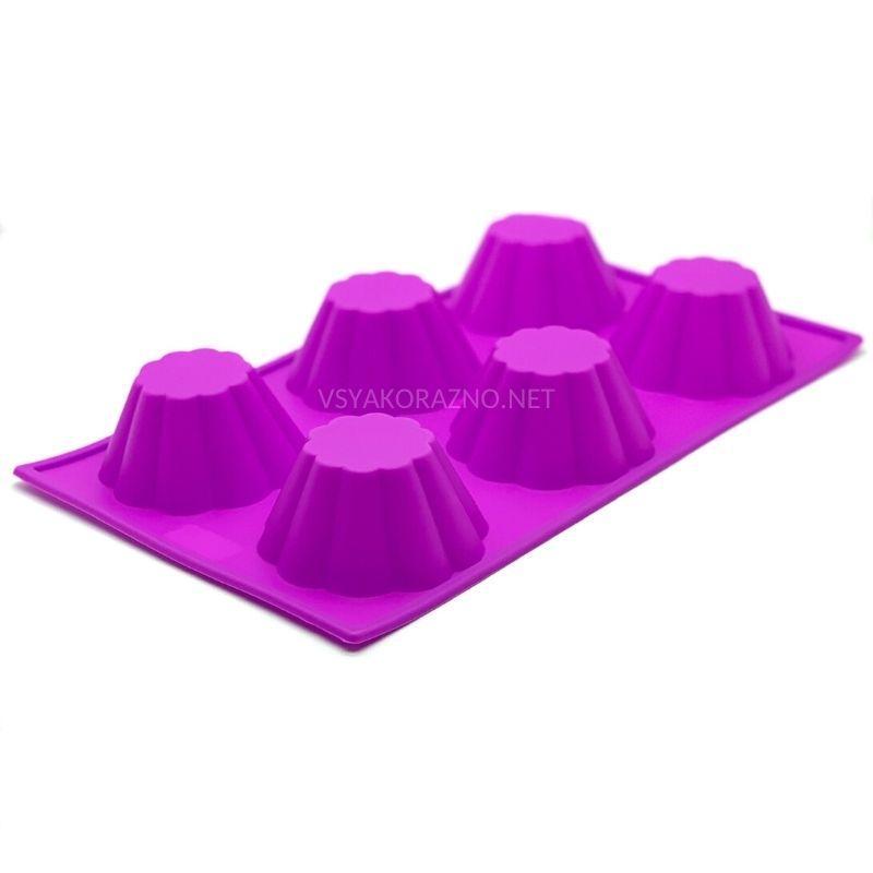Силиконовая форма для выпечки в духовке (Кекс) сиреневый