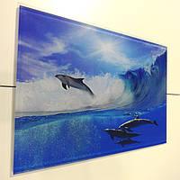 Стеклянная плитка Дельфины вставка