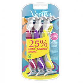 Одноразовые бритвенные станки Gillette Venus Simply 3 Plus , 6 шт (плавающая кассета)