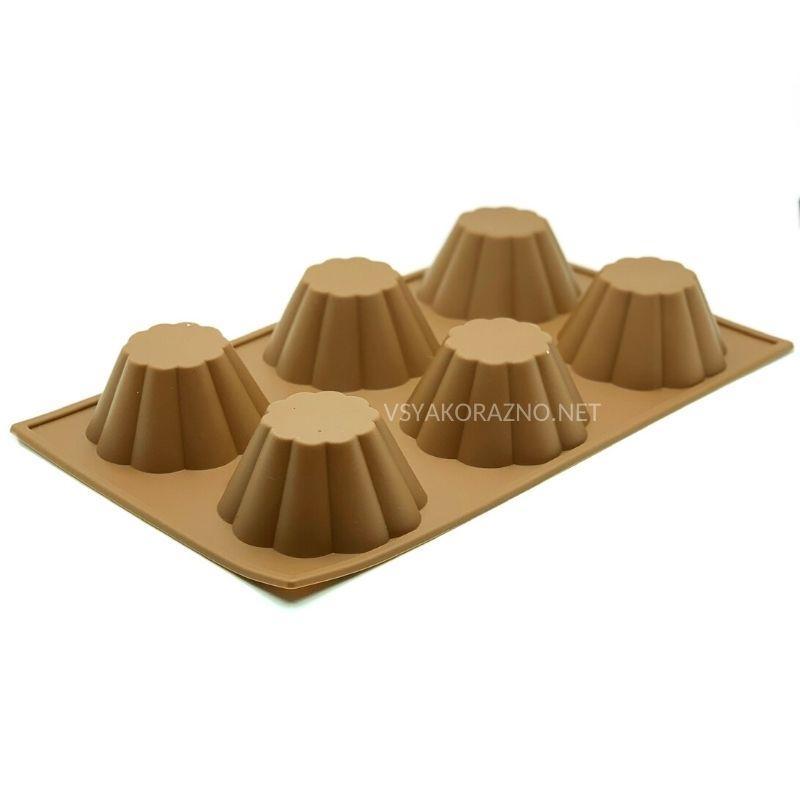 Силиконовая форма для выпечки в духовке (Кекс) коричневый