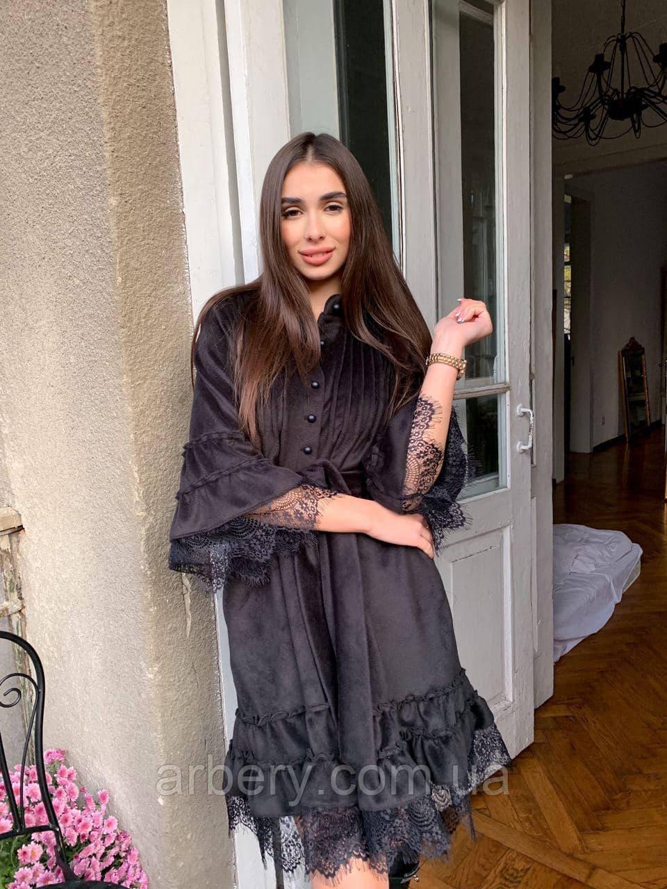 Шикарное бархатное платье-рубашка с кружевом