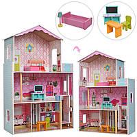 Кукольный домик с мебелью Bambi MD 2579 | Деревянный 3х этажный домик для кукол