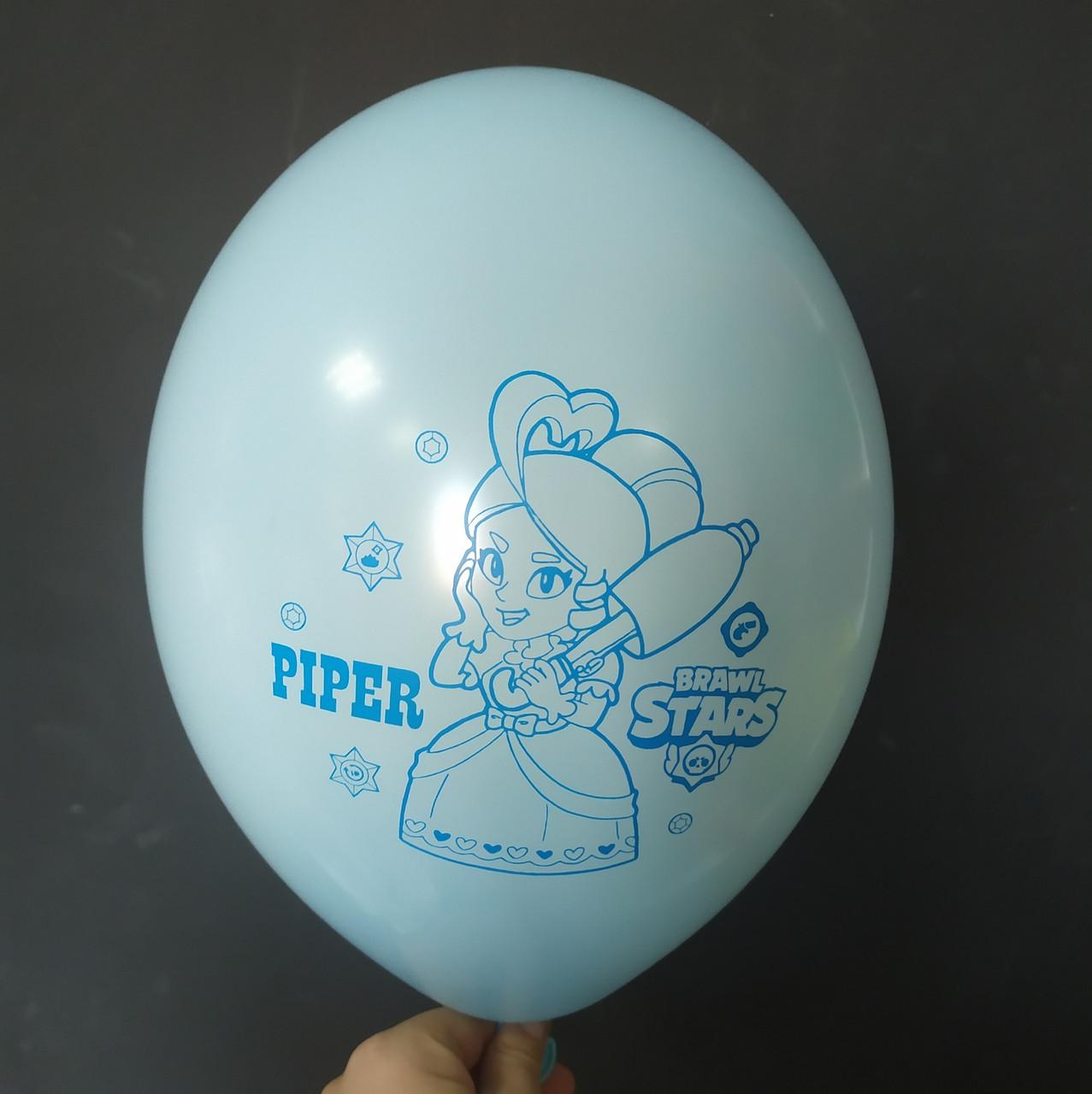 """Латексна кулька з малюнком Вrаwl stаrs Piper світло голубий макарун 449 12"""" 30см Belbal ТМ """"Star"""""""