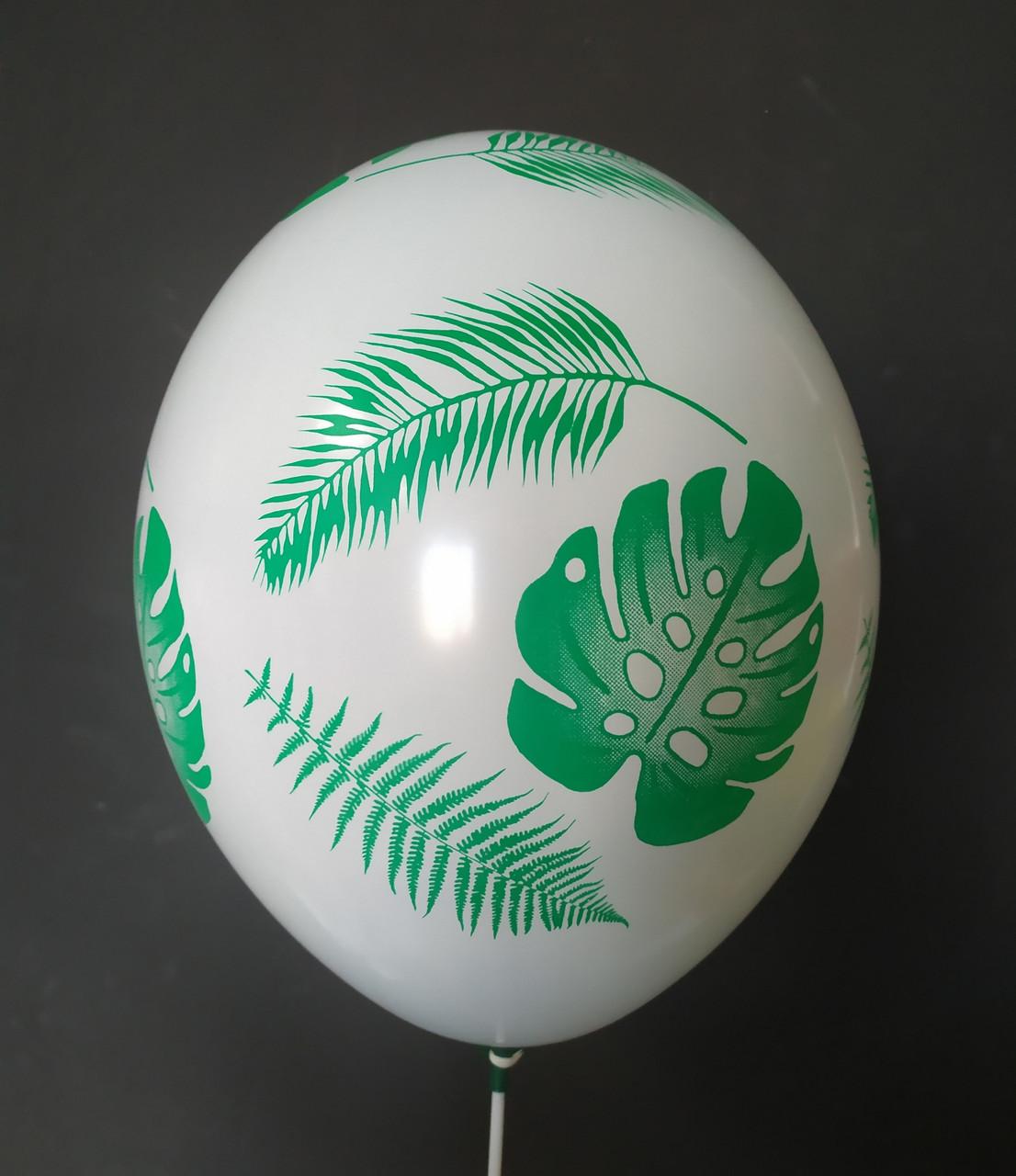 """Латексна кулька з малюнком Тропічні листки зеленим 12"""" 30см Belbal білий 002 ТМ Star"""