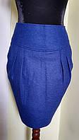 Кашемировая синяя юбка карандаш  Solar
