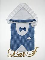 "Одеяло-конверт""Джентльмен"" (белый/синий(звездочки), поликоттон/бязь, д/с, (85*85))"