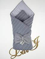 """Одеяло-плед """"Дуэт""""- 2 (серый, вязаное полотно /кулир, д/с, (85*85))"""