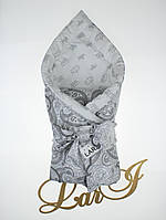 "Одеяло-плед ""Забава"" (белый/серый(рисунок), бязь/бязь, д/с, (85*85))"