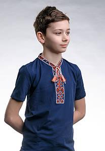 Детская футболка с вышивкой с коротким рукавом «Казацкая (красная вышивка)»