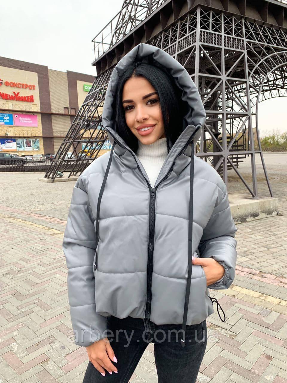 Шикарная зимняя кожаная куртка в стиле Zara