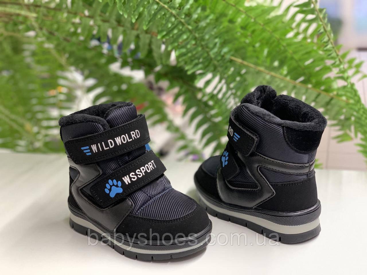 Зимние ботинки для мальчика,WeeStep Польша,черные, р.22-26, ЗМ-246