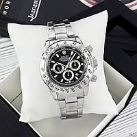 Часы наручные мужские кварцевые в стиле Rolex Daytona Ролекс Дайтона Серебристые чёрный циферблат
