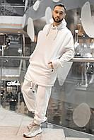 Теплый мужской спортивный костюм (трехнить на флисе) однотонный белый