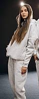 Модный женский зимний спортивный костюм oversize (трехнить на флисе) светло-серый