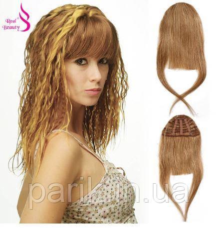 Накладная челка из натуральных волос блонди (светло русого оттенка), натуральная чёлка на заколках