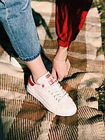 Кроссовки белые с красным задником Adidas Stan Smith Red Стен Сміт Червоні, фото 1
