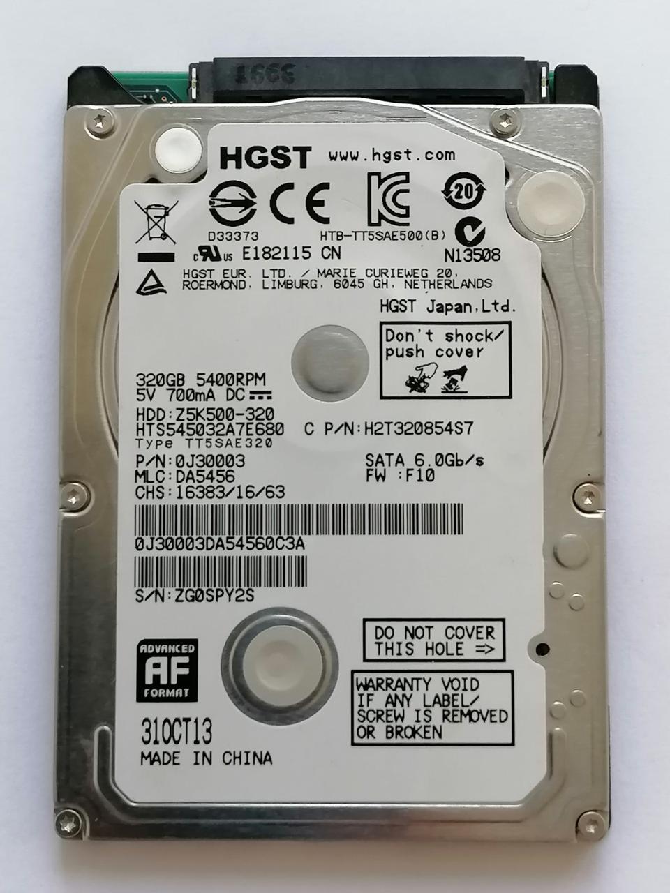 Б/У Жесткий диск HDD 320Gb HGST Z5K500-320 / HTS545032A7E680