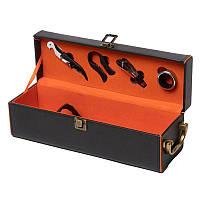 Подарочный набор для вина (1 бутылка и 5 предметов) 35*11.5 см черный Decanto 980008