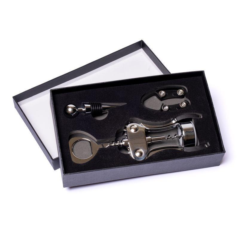 Набор сомелье для вина (штопор, пробка, ножик) металл 980013