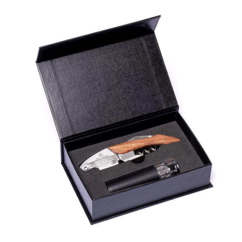 Подарочный набор для сомелье (штопор, пробка) металл 980015