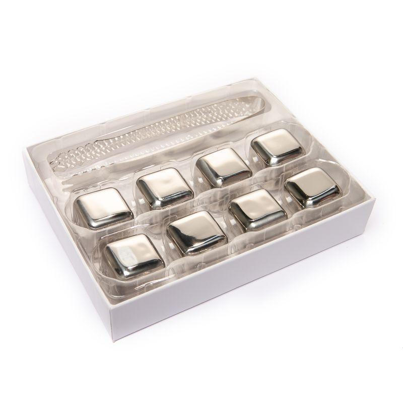 Подарочный набор камни кубики для виски 8 шт с пинцетом металл 980023