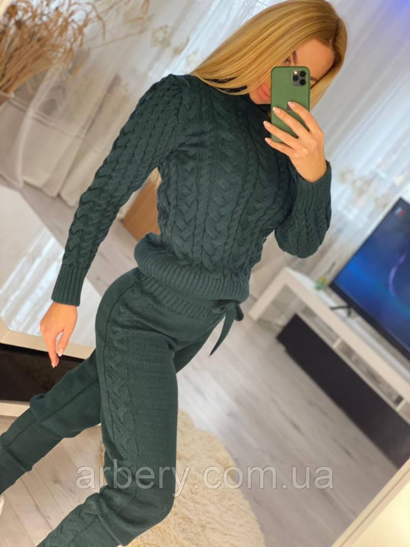 Женский шерстяной вязанный костюм