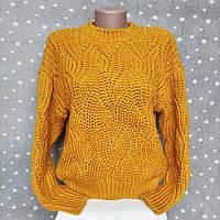 Женский вязанный свитер Турция - в горчичном цвете, фото 1