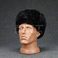 Шапка-ушанка набивной мех черная